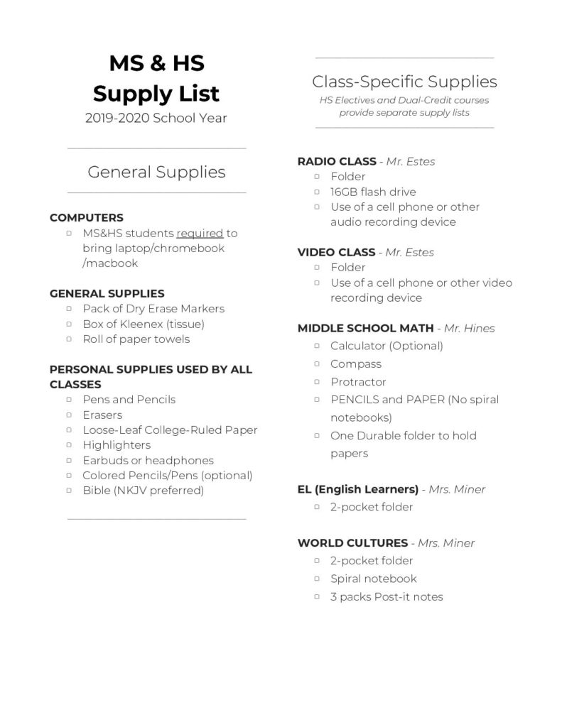 Supply Lists | HCS